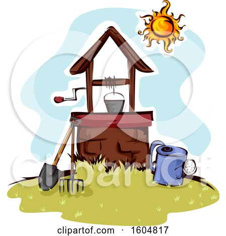 Clipart of a Well with a Bucket and Tools - Royalty Free Vector Illustration by BNP Design Studio
