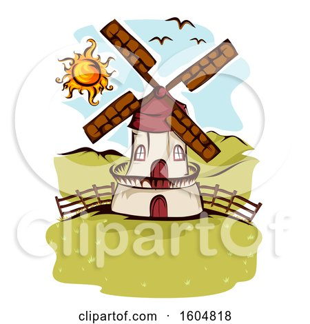 Clipart of a Farm Windmill and Birds on a Sunny Day - Royalty Free Vector Illustration by BNP Design Studio
