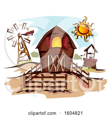Clipart of a Fenced in Barn with a Well, Windmill and Sun - Royalty Free Vector Illustration by BNP Design Studio