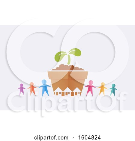 Clipart of a Colorful Paper People Holding Hands Around a Giant Seedling Plant with Houses, on an off White Background - Royalty Free Vector Illustration by BNP Design Studio