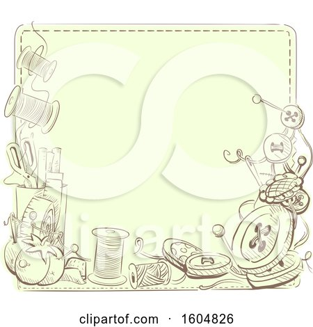 Clipart of a Sewing Notions Frame - Royalty Free Vector Illustration by BNP Design Studio