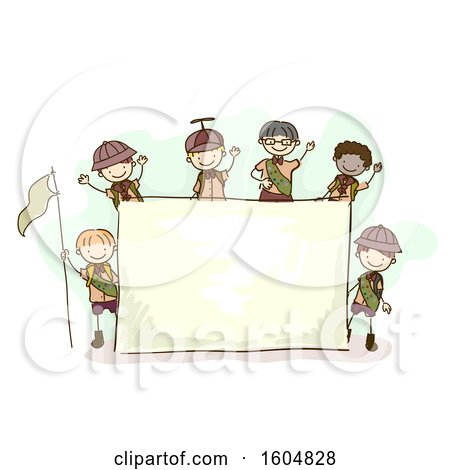 Clipart of a Sketched Group of Boy Scouts Around a Blank Sign - Royalty Free Vector Illustration by BNP Design Studio