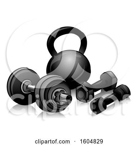 Clipart of Dumbbells and Kettlebells - Royalty Free Vector Illustration by BNP Design Studio