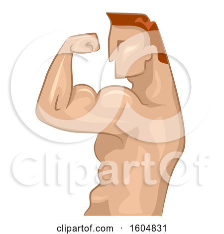 Clipart of a Profiled Bodybuilder Flexing His Biceps - Royalty Free Vector Illustration by BNP Design Studio