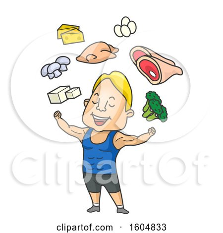 Clipart of a Cartoon Muscular Man Flexing Under Healthy Foods - Royalty Free Vector Illustration by BNP Design Studio