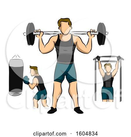 Clipart of a Man Working out in the Gym by Barbells, Boxing and Lateral Pull down for Body Building - Royalty Free Vector Illustration by BNP Design Studio