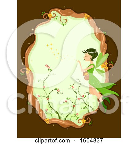 Clipart of a Frame of a Garden Fairy Blowing Magic Dust - Royalty Free Vector Illustration by BNP Design Studio