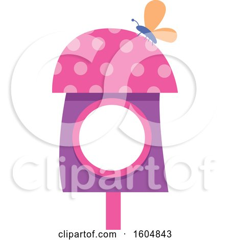 Clipart of a Butterfly on a Pink and Purple Fairy or Bird House - Royalty Free Vector Illustration by BNP Design Studio