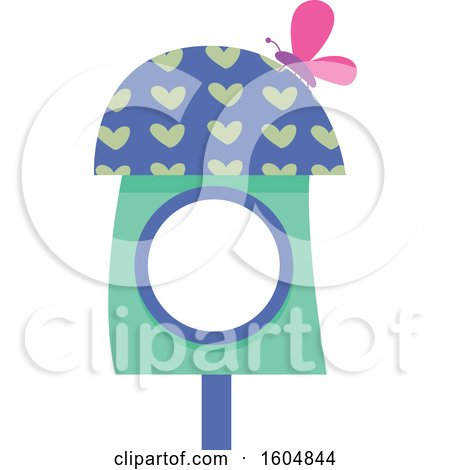 Clipart of a Butterfly on a Green and Blue Fairy or Bird House - Royalty Free Vector Illustration by BNP Design Studio