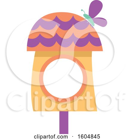 Clipart of a Butterfly on a Purple and Orange Fairy or Bird House - Royalty Free Vector Illustration by BNP Design Studio