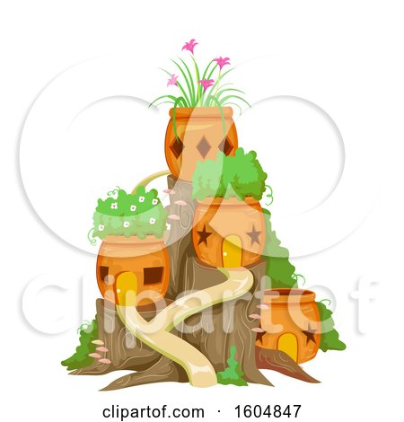 Clipart of a Fairy Garden with Orange Pots and Plants - Royalty Free Vector Illustration by BNP Design Studio