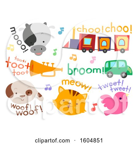 Clipart of Different Sounds from Animals to Vehicles for Kids like Cow, Train and Horn - Royalty Free Vector Illustration by BNP Design Studio