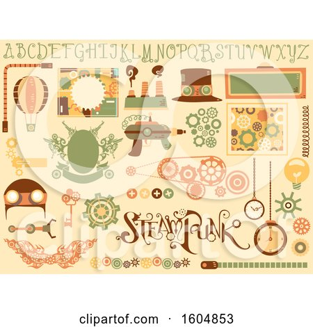 Clipart of Steampunk Design Elements from Hat, Board and Cogwheels - Royalty Free Vector Illustration by BNP Design Studio