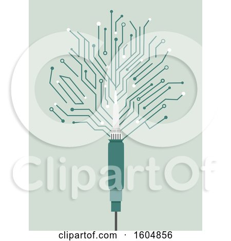 Clipart of a Soldering Iron with a Computer Chip Design - Royalty Free Vector Illustration by BNP Design Studio
