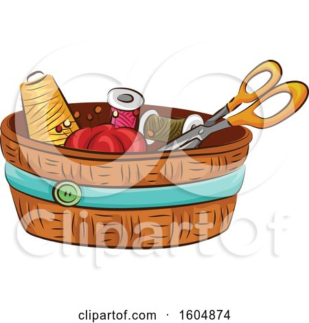Clipart of a Sewing Kit - Royalty Free Vector Illustration by BNP Design Studio