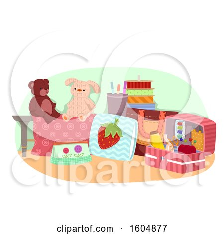 Clipart of a Hand Made Sewn Tows and Notions - Royalty Free Vector Illustration by BNP Design Studio