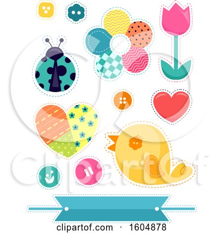 Clipart of Patch Flowers Bird Ladybug and Design Elements - Royalty Free Vector Illustration by BNP Design Studio