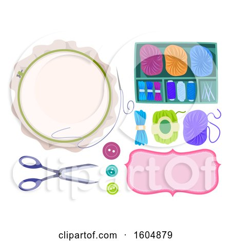 Clipart of Embroidery Accessories Scissors, Buttons, Hoop, Frame, Needle, Thread and Yarn - Royalty Free Vector Illustration by BNP Design Studio