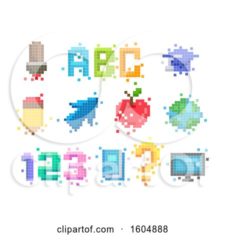 Clipart of Pixel Art Educational Designs - Royalty Free Vector Illustration by BNP Design Studio