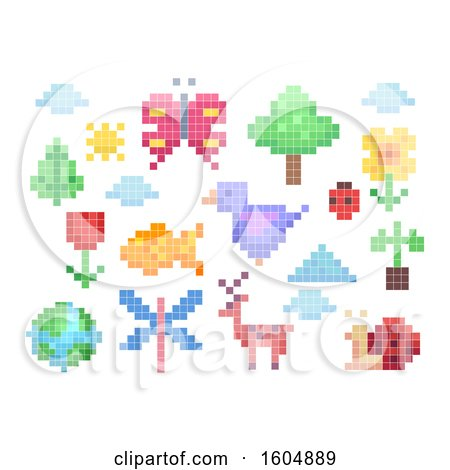 Clipart of Pixel Art Nature Elements and Animals - Royalty Free Vector Illustration by BNP Design Studio