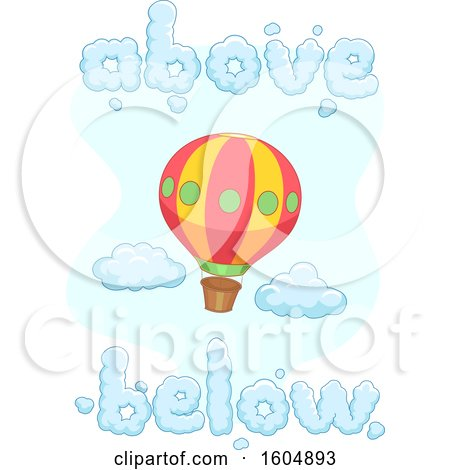 Clipart of a Hot Air Balloon with Above and Below Shaped Word Clouds - Royalty Free Vector Illustration by BNP Design Studio