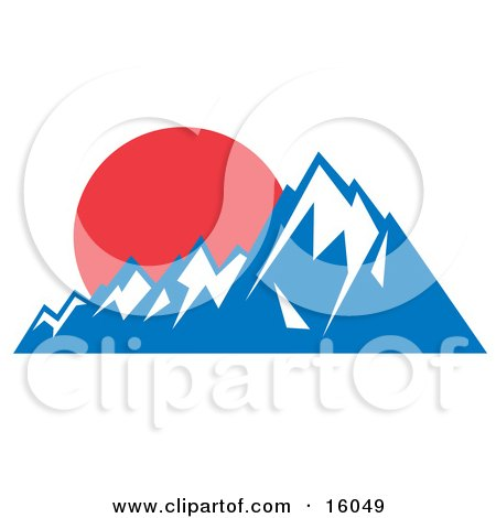 Red Sunset Over Snow Capped Mountains Posters, Art Prints