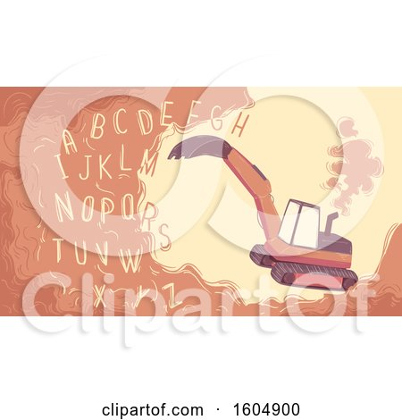 Clipart of an Excavator Digging the Alphabet out from the Soil - Royalty Free Vector Illustration by BNP Design Studio