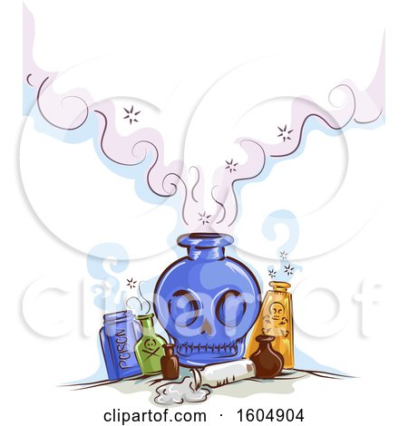 Clipart of a Skull Poison or Potion Bottle with Smoke - Royalty Free Vector Illustration by BNP Design Studio
