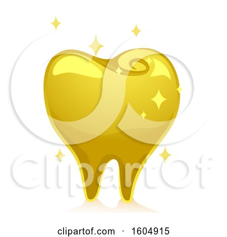Clipart of a Sparkly Gold Tooth - Royalty Free Vector Illustration by BNP Design Studio