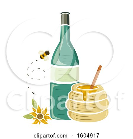 Clipart of a Bee and Sunflower by a Bottle and Honey Jar - Royalty Free Vector Illustration by BNP Design Studio