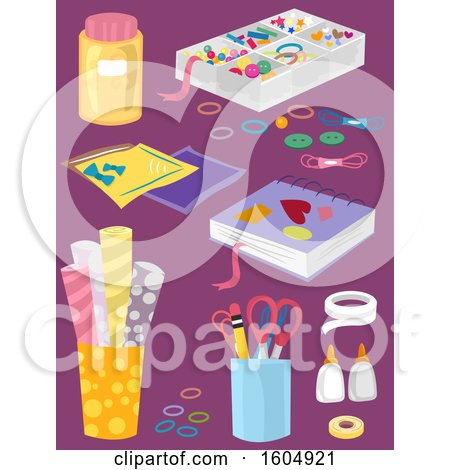 Clipart of Craft Supplies on Purple - Royalty Free Vector Illustration by BNP Design Studio