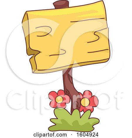 Clipart of a Wood Garden Sign with Flowers - Royalty Free Vector Illustration by BNP Design Studio
