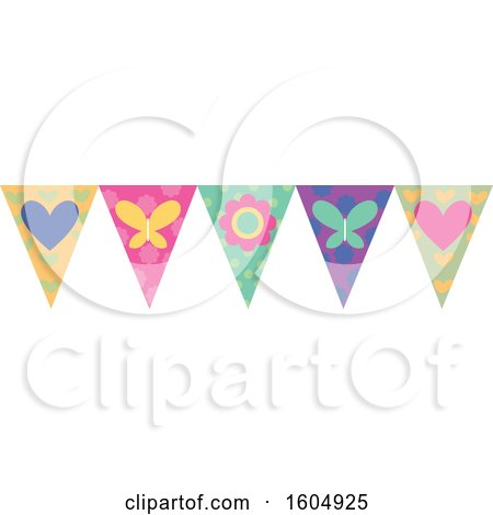 Clipart of a Flower Heart and Butterfly Party Banner - Royalty Free Vector Illustration by BNP Design Studio