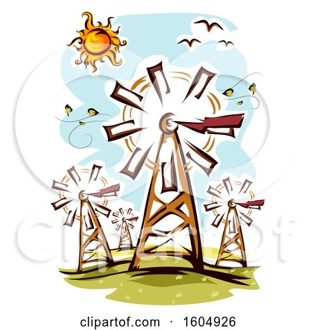 Clipart of a Windmill Farm on a Sunny Day - Royalty Free Vector Illustration by BNP Design Studio