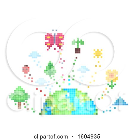 Clipart of a Pixel Art Earth with Nature Elements - Royalty Free Vector Illustration by BNP Design Studio