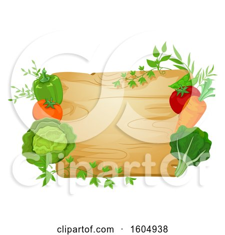 Clipart of a Cutting Board Framed with Vegetables and Greens - Royalty Free Vector Illustration by BNP Design Studio