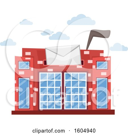 Clipart of a Post Office Building with a Slot and Flag Up, Resembling a Mailbox - Royalty Free Vector Illustration by BNP Design Studio