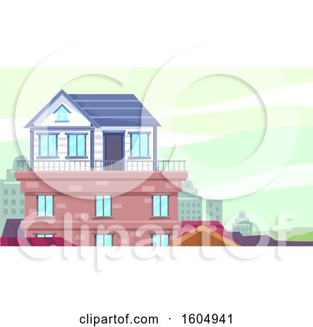 Clipart of a Small House Built on the Rooftop of a Building - Royalty Free Vector Illustration by BNP Design Studio