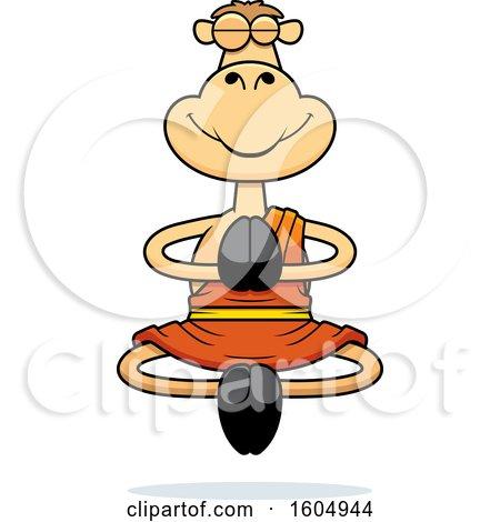 Clipart of a Cartoon Meditating Zen Camel - Royalty Free Vector Illustration by Cory Thoman