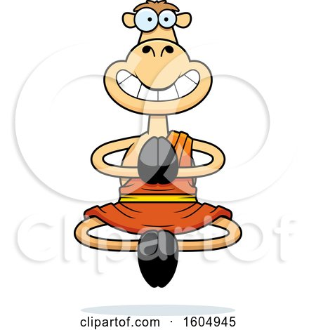 Clipart of a Cartoon Meditating and Grinning Zen Camel - Royalty Free Vector Illustration by Cory Thoman