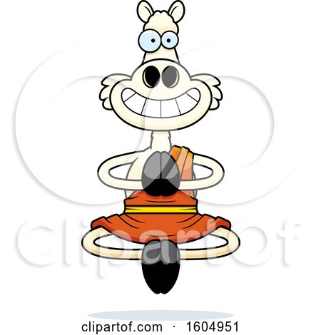 Clipart of a Cartoon Meditating and Grinning Zen Llama - Royalty Free Vector Illustration by Cory Thoman
