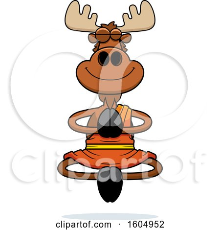 Clipart of a Cartoon Meditating Zen Moose - Royalty Free Vector Illustration by Cory Thoman