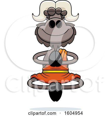 Clipart of a Cartoon Meditating Zen Ox - Royalty Free Vector Illustration by Cory Thoman