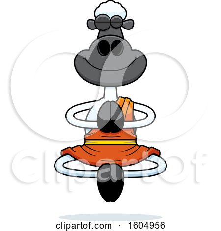 Clipart of a Cartoon Meditating Zen Sheep - Royalty Free Vector Illustration by Cory Thoman