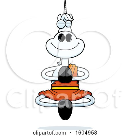 Clipart of a Cartoon Meditating Zen Unicorn - Royalty Free Vector Illustration by Cory Thoman