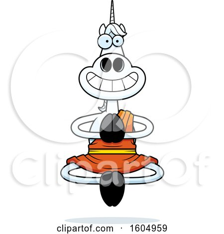 Clipart of a Cartoon Meditating and Grinning Zen Unicorn - Royalty Free Vector Illustration by Cory Thoman