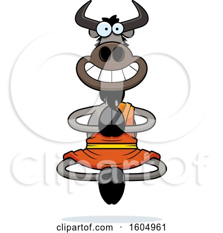 Clipart of a Cartoon Meditating Zen Wildebeest - Royalty Free Vector Illustration by Cory Thoman