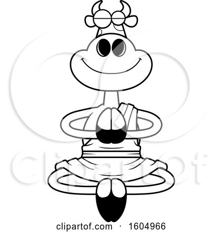 Clipart of a Cartoon Black and White Meditating Zen Cow - Royalty Free Vector Illustration by Cory Thoman