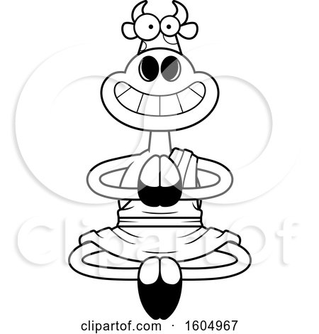 Clipart of a Cartoon Black and White Meditating and Grinning Zen Cow - Royalty Free Vector Illustration by Cory Thoman