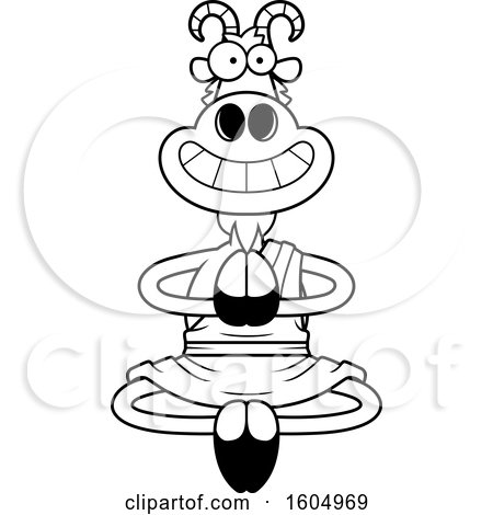 Clipart of a Cartoon Black and White Meditating and Grinning Zen Goat - Royalty Free Vector Illustration by Cory Thoman